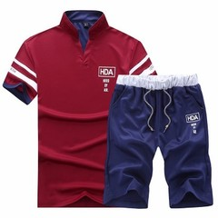 Men's Leisure Sports Suit  Two-piece Fashion Suit include tshirts and pants wine red 3xl