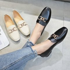 New Women's Single Shoes, Large Size Leisure Small Leather Shoes and Work Shoes black 41