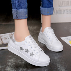 Ladies'Sports Shoes with Sequined Pentagonal Galaxy Belts and Coloured White  Women Shoes silvery 40