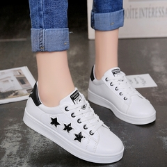 Ladies'Sports Shoes with Sequined Pentagonal Galaxy Belts and Coloured White  Women Shoes black 36
