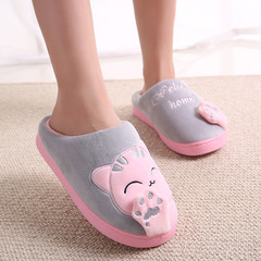 Cute Non-slip  Women Slippers Home  Comfort Floor Women Shoes Cotton girls slippers shoes red 23