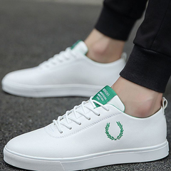 Men Shoes  Casual imitation leather Flat Shoes Lace-up Low Top Male Sneakers  shoes white&green 41