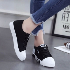 Women Shoes  Casual Shoes Women Flats Canvas Shoes  Lace Up Cartoon Ladies Shoes  Sneakers black 36