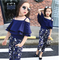 Girls Sets Clothes Kids Fashion Tops Floral Pants Two Piece Set Children Summer Suit Girls 140 blue