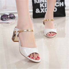 New type of Lady diamond shiny  sandals high heel sandals and slippers white 38
