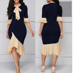 women long Sleeve Splicing Elegant  Formal Office Plus Size  Dresses dark blue m