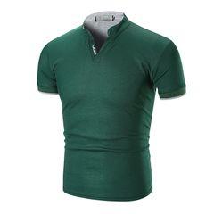 Fashion Mens Dress Casual Slim Fit Short Sleeve Polo Shirts -White Cotton tshirts green xl