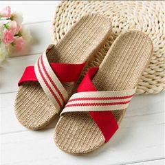 women slippers wooden floor linen slip  sandals  shoes red 39-40