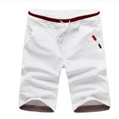 New men  fashion  shorts casual cotton slim beach shorts sweatpants trousers pants white l