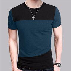 Mens T Shirt Slim Fit Crew Neck T-shirt Men Short Sleeve Shirt Casual tshirt Tee Tops Short Shirt Square &green 2xl