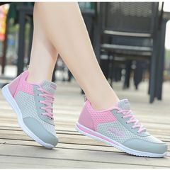 Women fashion casual breathable sports shoes Athletic sneakers shoes gray&pink 36