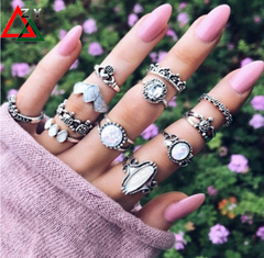 12pairs\set rings Jewelry Women Fashion Accessories Alloy knuckle ring set Jewellery Ladies gift silvery As picture
