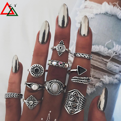 10pairs\set rings Jewelry Women Fashion Accessories Alloy knuckle ring set Jewellery Ladies gift silvery as picture