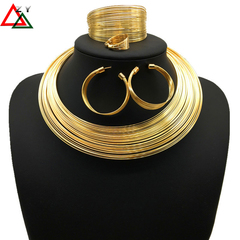 4pairs\set Jewelry Necklace Bracelet ring Earrings Fashion Accessories Alloy Bride Wedding Jewellery golden as picture