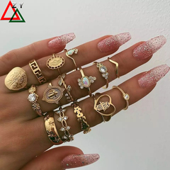 15pcs\set rings Jewelry Women Fashion Accessories Alloy knuckle ring set Jewellery Ladies gift golden as picture