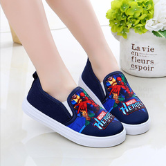 Black Friday Fashion sneakers cartoon spiderman comfortable Canvas Shoes Girls Boys kids shoes navy blue 25