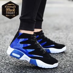 Fashion sneakers men shoes casual sports shoes Running Breathable Shoes Board Shoes men blue 39