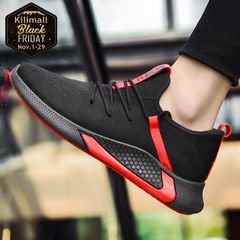 Fashion sneakers men shoes casual sports shoes Breathable Fabric Shoes Comfortable Shoes men red 41