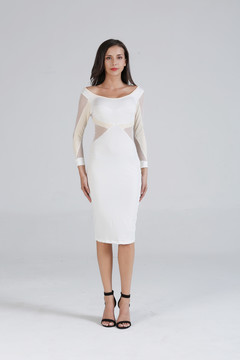 New 2019 fashion trend lace sleeve round neck slimming one-step dress dress white s