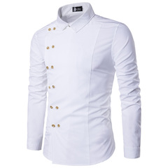 New men's gold double-breasted slim and long-sleeved shirt DC42 white m