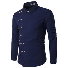 New men's gold double-breasted slim and long-sleeved shirt DC42 navy blue 2xl