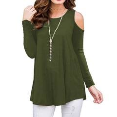 Spring and summer new long-sleeved solid color strapless T-shirt large size shirt women's clothing green m