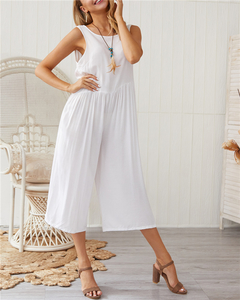 European and American temperament women's hot sale explosions solid color vest jumpsuit white S
