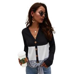 Long-sleeved sweater explosion models 2019 new V-neck tops black s