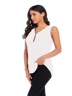 Spring and summer Europe and America zipper loose sleeveless T-shirt female 10 colors white s