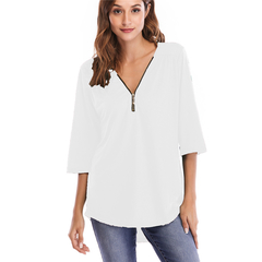 Spring and summer Europe and America zipper loose half-sleeved T-shirt female S-  5XL white s