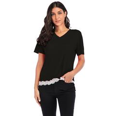 10 color explosion models sexy lace shirt T-shirt v-neck summer short-sleeved black s