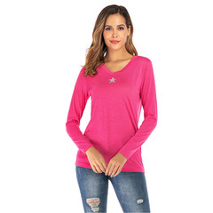 2019 autumn and winter new explosions V-neck knit women's long-sleeved T-shirt pink s