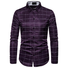 New fashion men's long sleeve shirt purple m