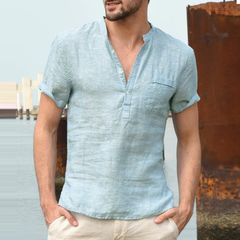 2019 New Summer Mens Casual Shirts Sleeve V Neck Basic Blouse Casual Loose Thin Tops Men light blue m