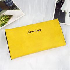 New women's wallet long original matte leather ultra-thin retro wallet yellow onesize