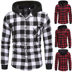 New Plaid Shirt Hooded Long Sleeve Shirt Youth Top red L