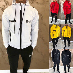 Men's new fashion hooded long-sleeved sports and leisure set 2 sets yellow XL