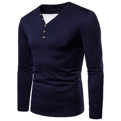 Fashion large size men's casual long-sleeved T-shirt navy m