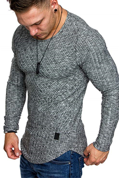 T-shirt for young men with long sleeves gray m