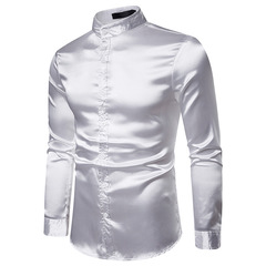 Nightclub Men's Glossy Long Sleeve Shirt Youth Sexy Satin Ouma Men's Wear white m