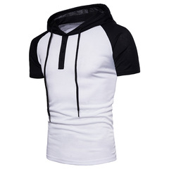 Men's stitching short-sleeved hooded T-shirt European code white m