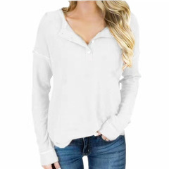 European and American women's V-neck shirt Waffle long-sleeved t-shirt women white s