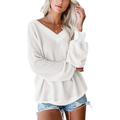 New sexy thread waffle long sleeve t-shirt female white s