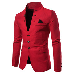 Suit European code Multi-button decoration Men's casual stand collar 9710 red m