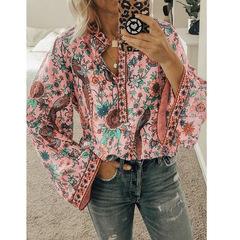 Peacock Print Loose Shirt Long Sleeve Shirt OM9070 pink s