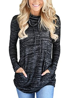 Long-sleeved high-necked top shirt T-shirt sweater black s