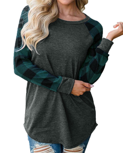 Plaid printed lady's head color matching shirt shirt T-shirt green s