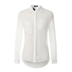 Cotton and linen shirt women's shirt large size long sleeve bottoming shirt white s