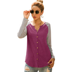 European and American women's single-breasted striped stitching T-shirt cardigan wine red s