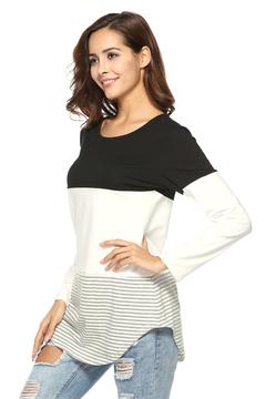 European and American women's shirt casual striped t-shirt female black s